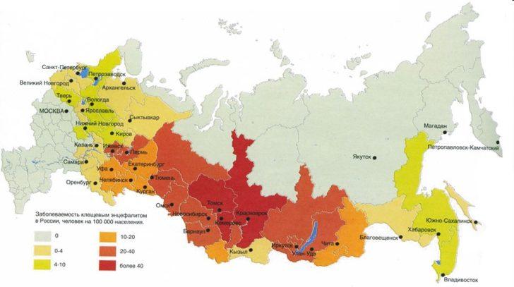Районы распространения клещевого энцефалита