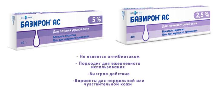 Гель для наружного применения Базирон АС 2,5%, 5%