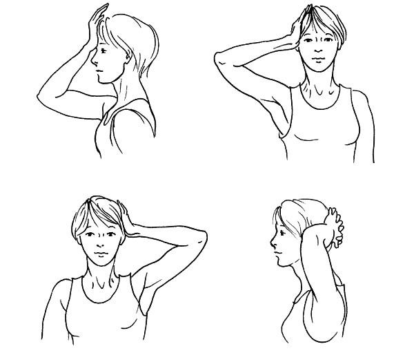 Схема изометрических упражнений для шеи