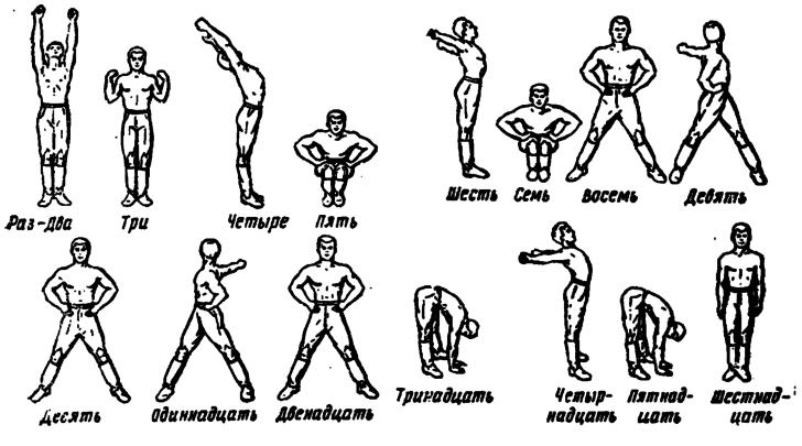 Схема разминки перед выполнением лечебных упражнений