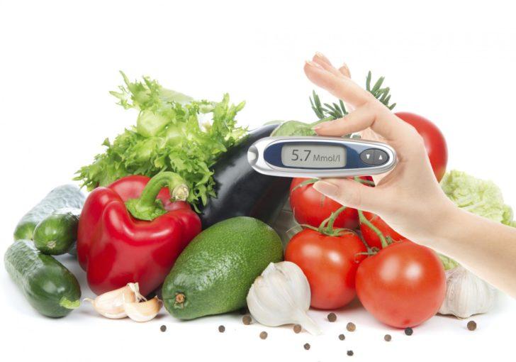 Глюкометр на фоне овощей и зелени