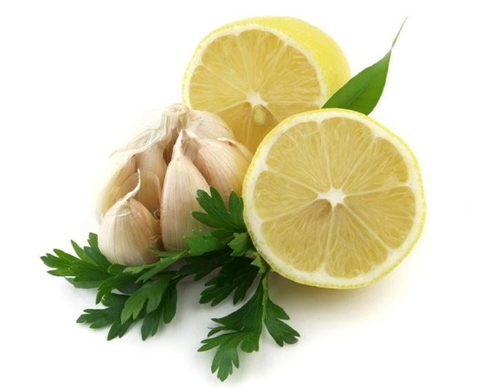 Лимон, чеснок, петрушка