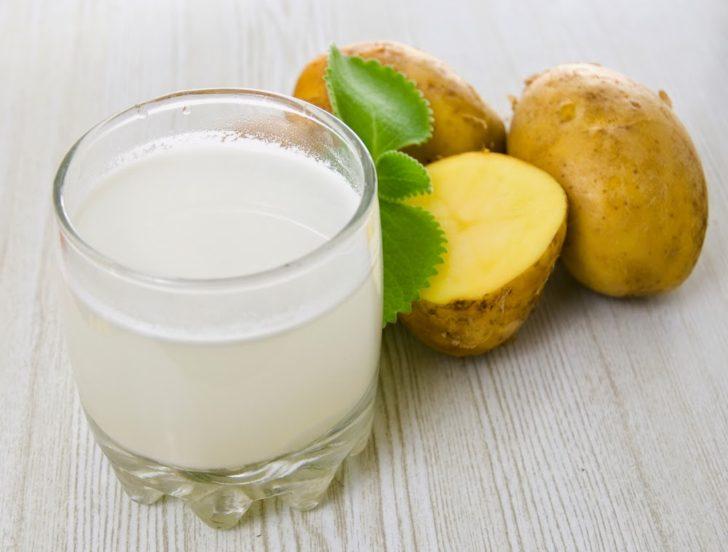 Картофель и стакан с соком