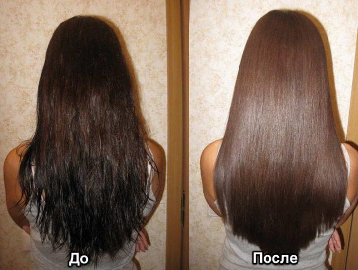 Волосы до и после применения сока алоэ