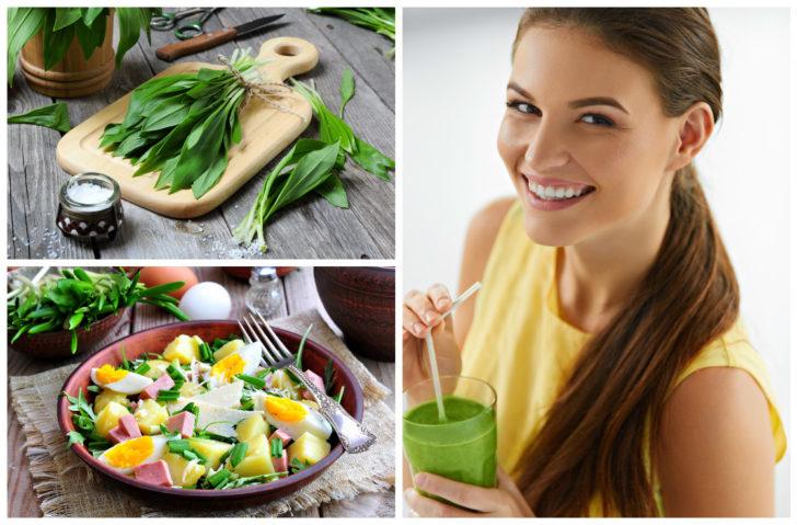 Коллаж: девушка с соком из черемши и черемша на столе и в салате
