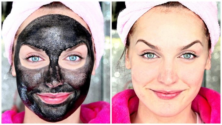 Маска с активированным углём на лице у женщины