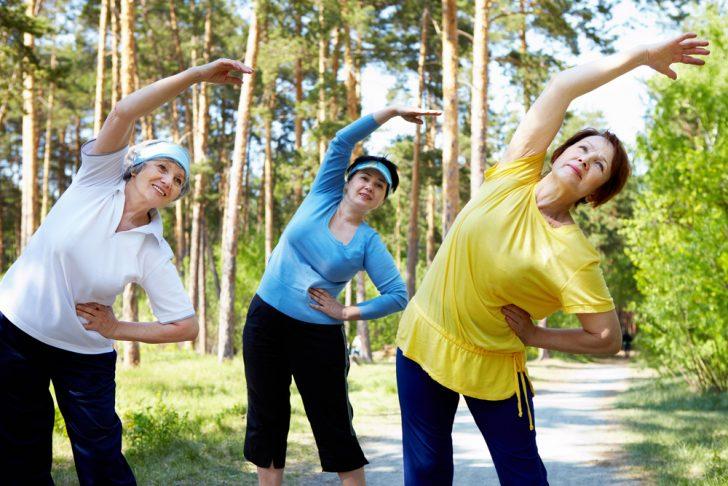 Женщины занимаются гимнастикой в лесу