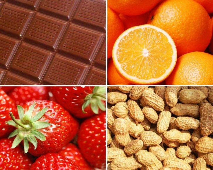 Пищевые аллергены: шоколад, апельсины, орехи, клубника